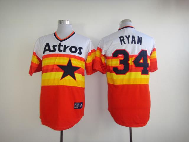 Houston Astros #34 Nolan Ryan jersey, Houston Astros 34 Nolan Ryan jersey Authentic Rainbow Throwback Baseball stitched jersey(China (Mainland))