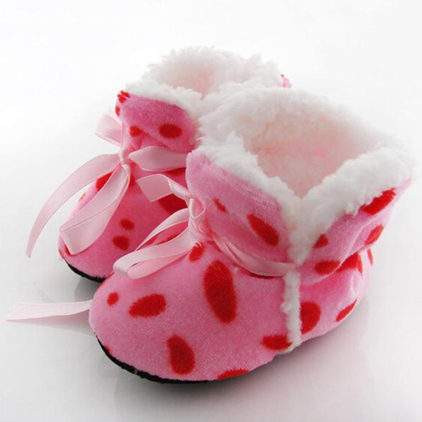 Леопарда зебра Dot мягкая зима сапоги малыша дети детская обувь Prewalker