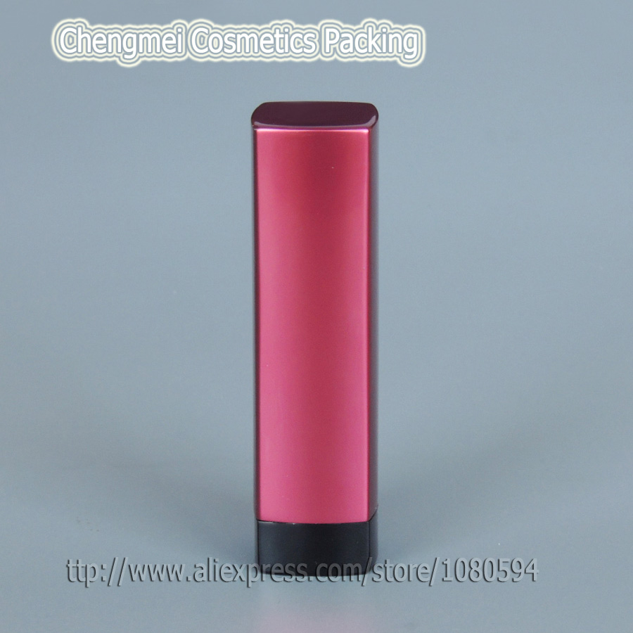 50 pcs/lot empty square aluminum lipstick tube volume 3.5- 4g in red cap and black tube<br><br>Aliexpress