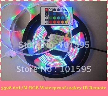 Hot Selling!!! 5m/roll SMD 3528 RGB Waterproof 300 LED flexible led light strip + 24 key IR Remote