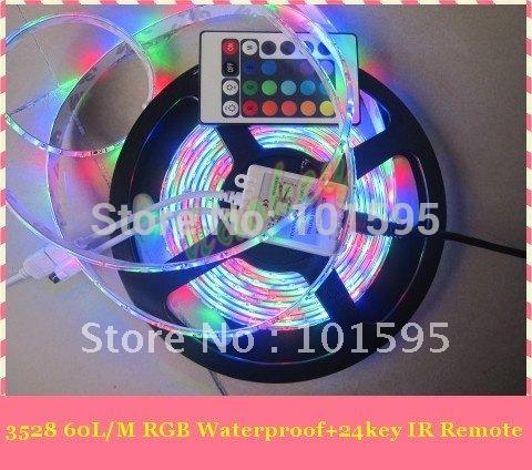 Hot Selling!!! 5m/roll SMD 3528 RGB Waterproof 300 LED flexible led light strip + 24 key IR Remote(China (Mainland))