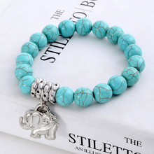 New Design Fashion Vintage Bohemia National style Turquoise Beaded Tibetan Silver Elephant charm Stretch bracelet jewelry women(China (Mainland))