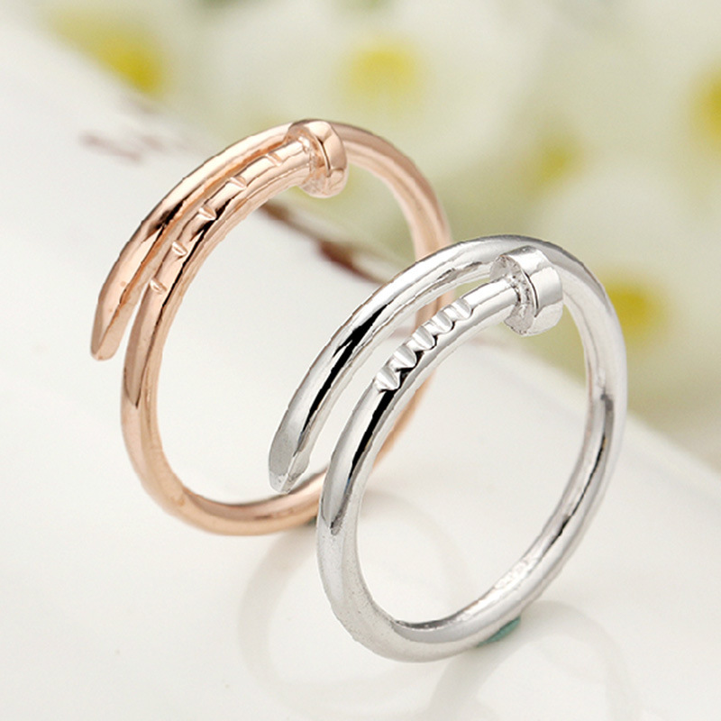 Fine Jewelry 925 Sterling Silver Rose Gold Plated Rings High End Nail Shape O