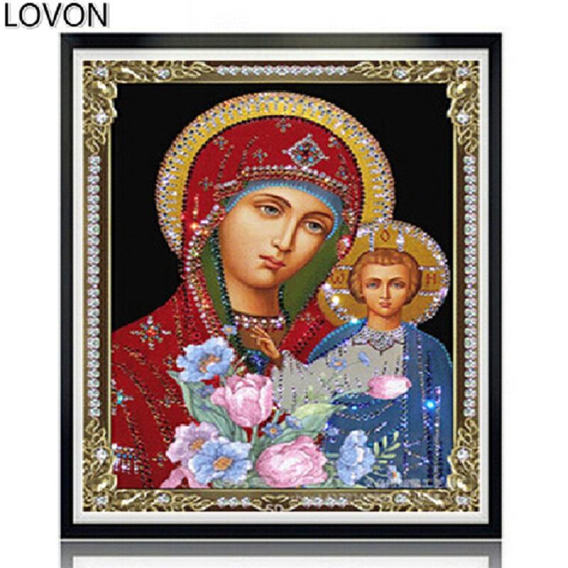 Гаджет  5D DIY diamond painting cross stitch religious Jesus Russian style Full DMC round rhinestones mosaic Decorative embroidery None Дом и Сад
