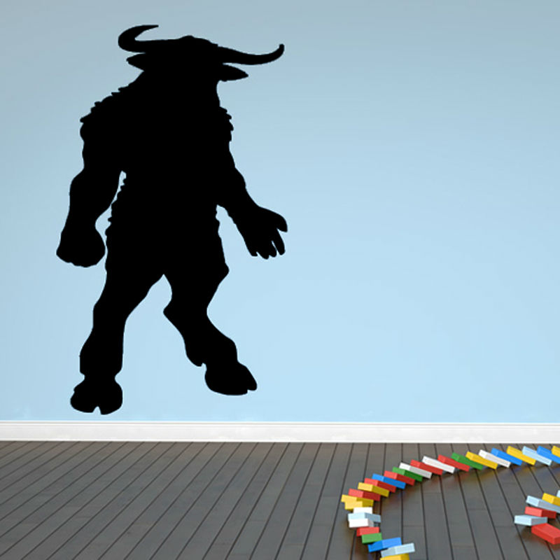 Hot Sale Home Decor Accessories Black Silhouette Minotaur Wall Stickers Kids Room Cartoon Figure Decals(China (Mainland))
