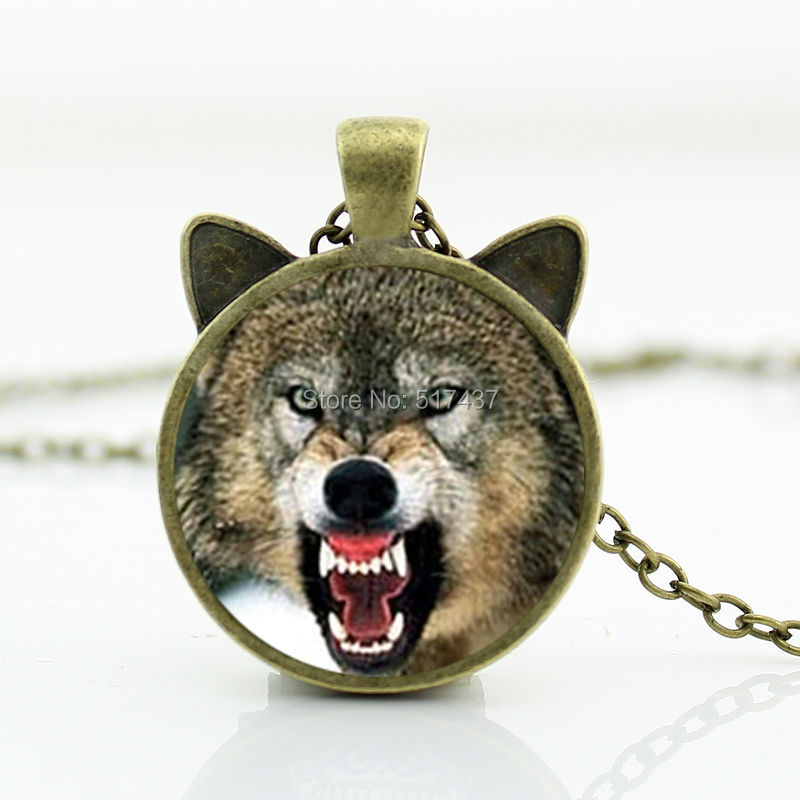 2016 New Snarl Wolf Necklace Snarl Wolf Pendant Glass Wolf Jewelry Glass Photo Cabochon Necklace CN-00786(China (Mainland))
