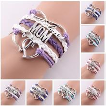 Best gift Infinity love mom & grandma heart baton rouge love wins Rope charm Bracelets for women Wrap Leather bracelets bangles(China (Mainland))