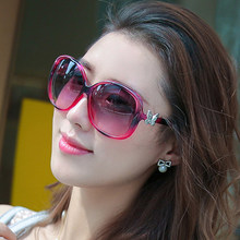 Brand Whole New Women colors Oversized Sunglasses Butterfly decoration blue red black Sun Glasses Sunshades wholesale(China (Mainland))