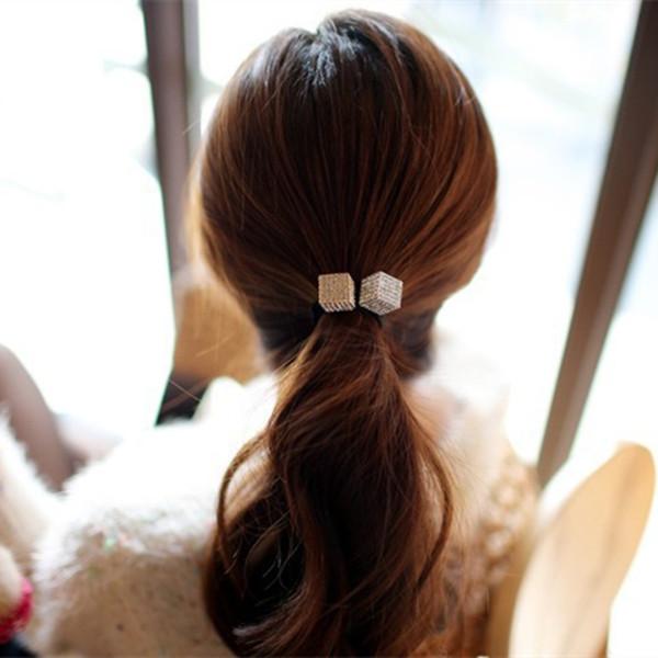 12 Pcs New Crystal Rhinestone Hair Band Rope Gold Silver Elastic Ponytail Holder(China (Mainland))