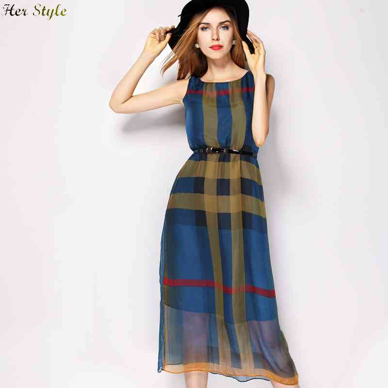 Free Shipping summer 2015 new slim t Europe contrast color stitching belt long sleeveless silk dress female 1432225557(China (Mainland))