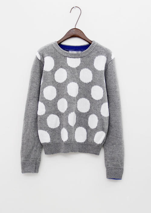 New In 2013 Autumn Fashion Korean Style Polka Dots Print Crew Neck Sweaters Women Long Sleeve Knit Pullovers Free Shipping(China (Mainland))