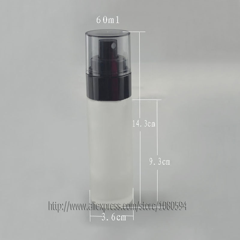 60ml frosted glass bottle in round/cylinder shape with black press lotion/sprayer pump and clear cover cap, sprayer Bottle<br><br>Aliexpress