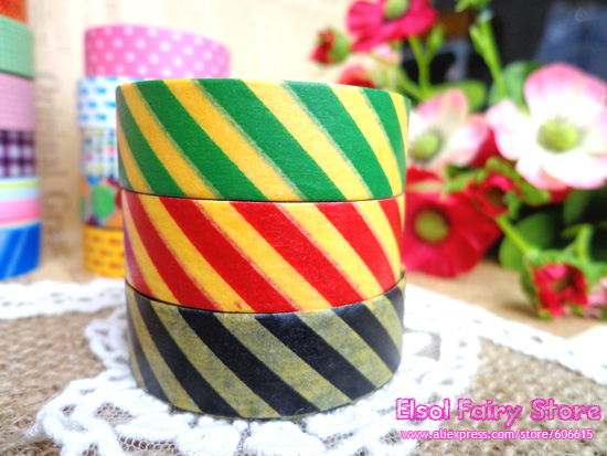 NEW! Wholesale (18 pcs/lot) 15m A Grade Colorful strip masking tape,Japanese Paper Tape, craft supply Free shipping<br><br>Aliexpress