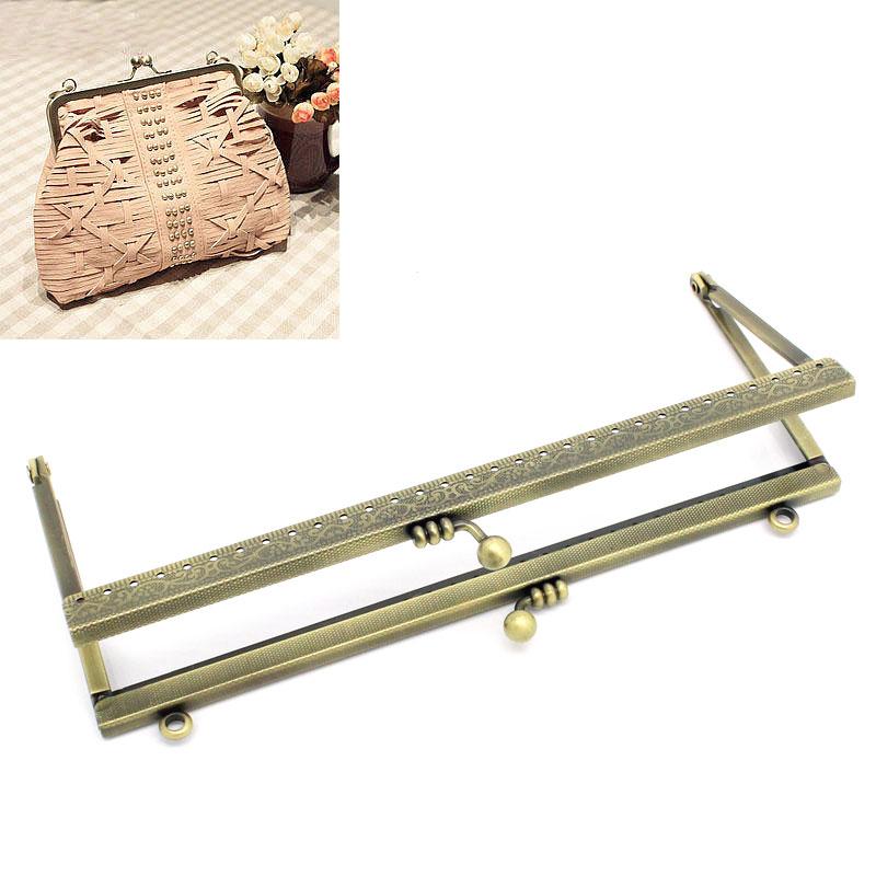 Free Shipping 2PCs Metal Purse Bag Frame Kiss Clasp Lock Bronze Tone 19cmx9cm B31730(China (Mainland))