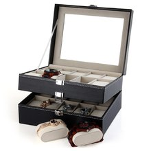 PU Leather 20 Grids Watch Display Case Box Jewelry Storage Organizer, Elegant Watch box gifts Organizer caja reloj(China (Mainland))