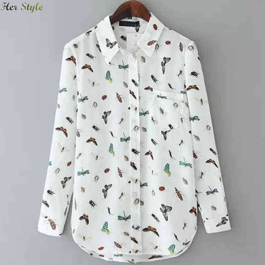 Free Shipping in the spring wind butterflies new beetle print long sleeve shirts womens slim fit 1426059626(China (Mainland))
