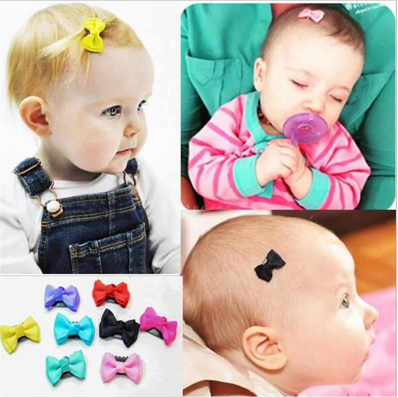 7pcs Lot 2016 Cute Baby Girls Hair Clips Mini Bowknot Hair