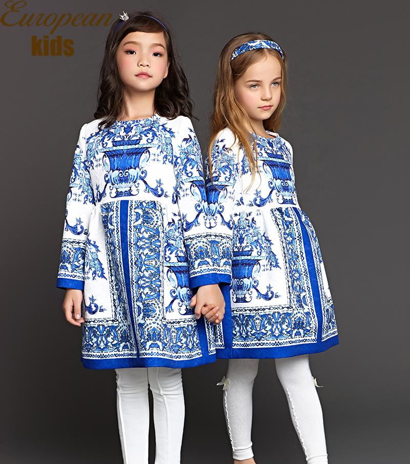 2015 Winter Children Clothing Vestidos Baby Girl Dress Flower Print Brand Girls Dresses Toddler Girl Dresses Luxury Baby Clothes(China (Mainland))