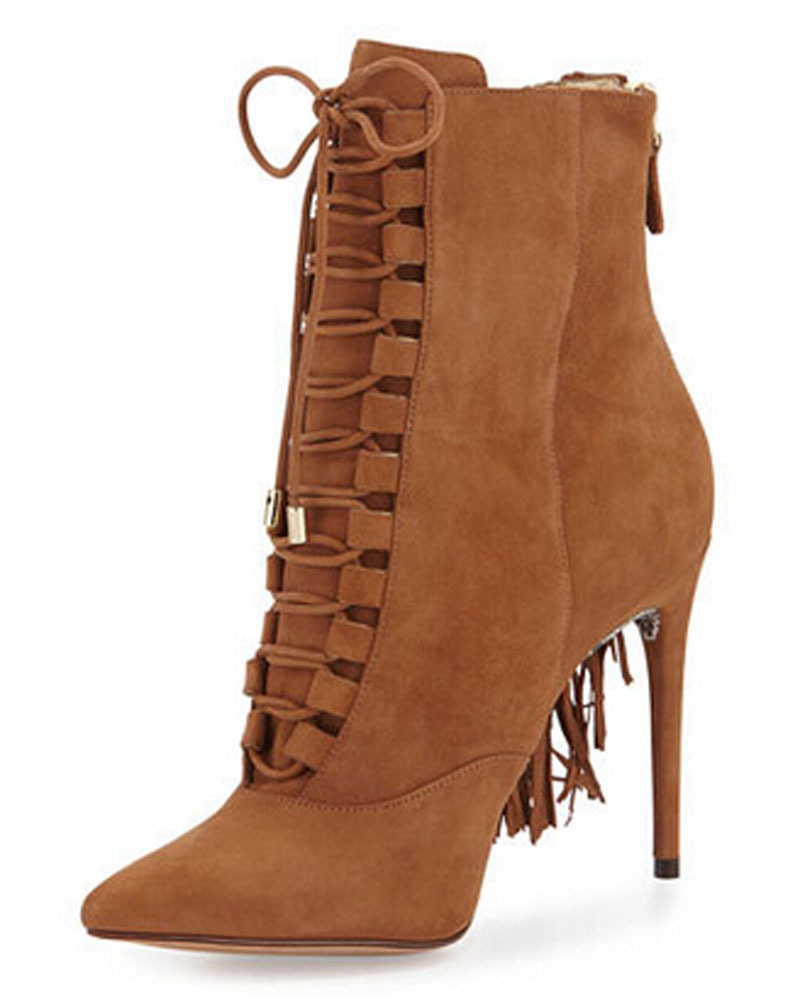 High Heel Ankle Boots Lace Up