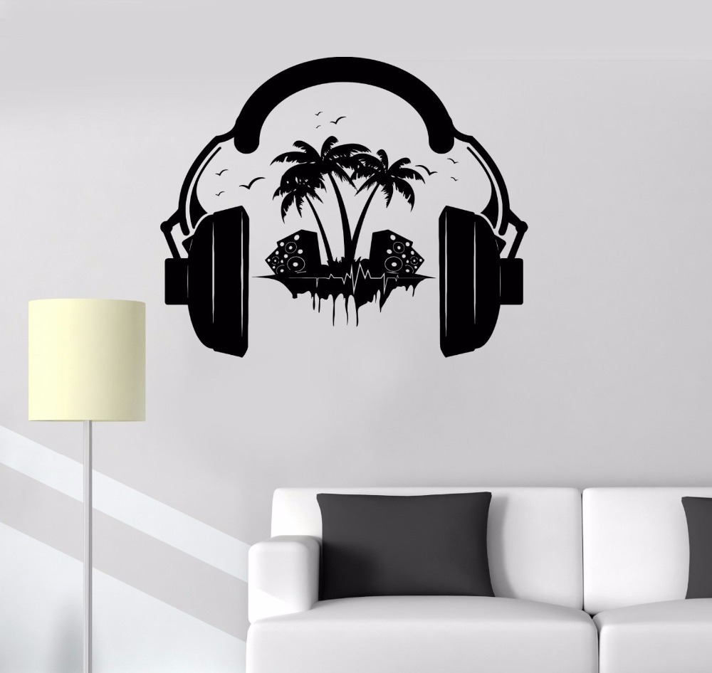 new fashion Vinyl Decal Headphones Sound Teen Room Music Decor Wall Stickers Mural free shipping(China (Mainland))