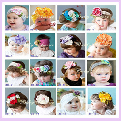 Free Shipping 30pcs/lot Factory Supplier More Colors Kids Hair Accessories Girls Headbands Baby Elastic Flower Hair Bands(China (Mainland))