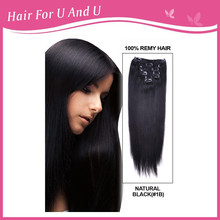120gram double drawn brazilian virgin natural black great length 100% human hair clip in remy hair extensions full head(China (Mainland))