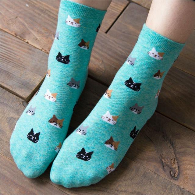 Осень каваи женщин Cat глава носки новый бренд Caramella милый мультфильм носок новый 100 хлопок 2 пара