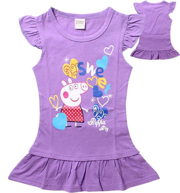 Cartoon pe ppa schwein kinder t shirts Sommer mädchen kinder kurzarm t-stücke 100% baumwolle babykleidung mädchen t-shirts(China (Mainland))