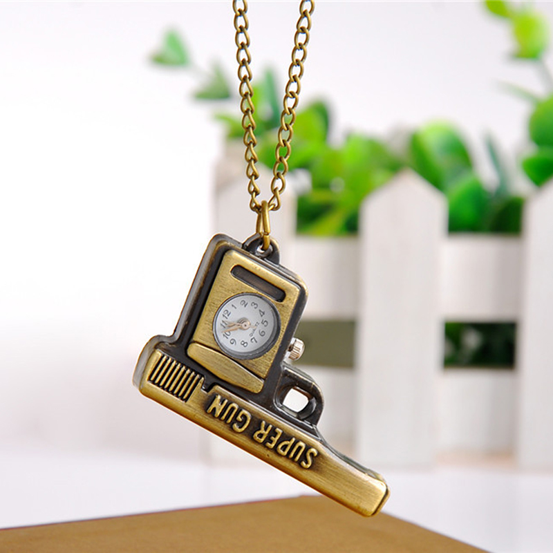 Cindiry Fob Watches Creative Retro Personality Bronze Quartz Pocket Watch Women Men Hollow Necklace Pendant Sweater Chain P40(China (Mainland))