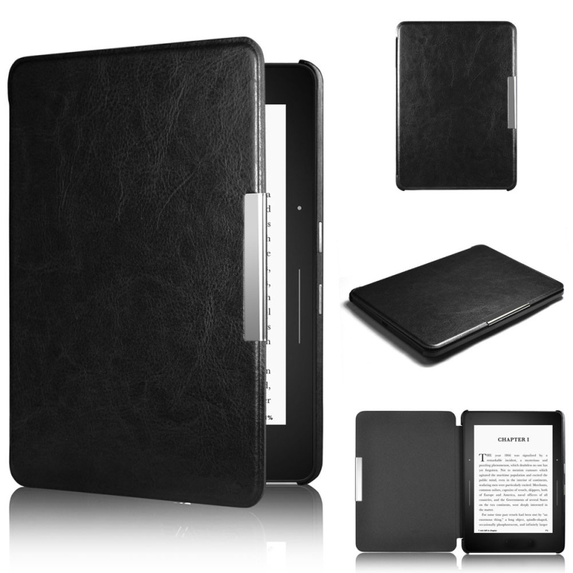Hot selling Super Black Magnetic Auto Sleep Leather Cover Case For Amazon Kindle Paperwhite 1 2 1PC(China (Mainland))