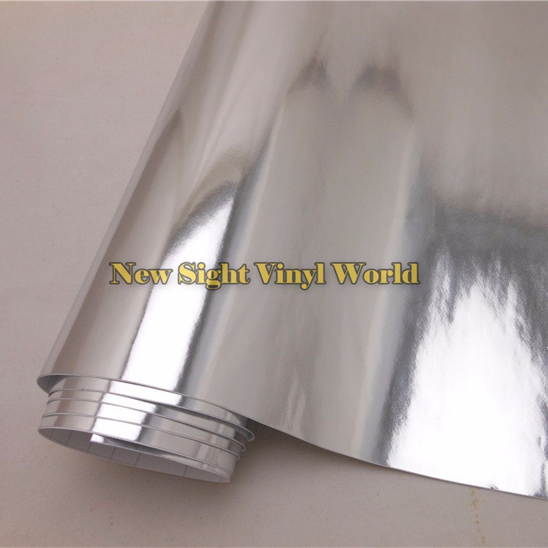 Best Quality Stretchable Chrome Silver Vinyl Foil Sheet For Car Sticker Air Free Bubble Size:1.52*20M/Roll (5ft x 65ft)