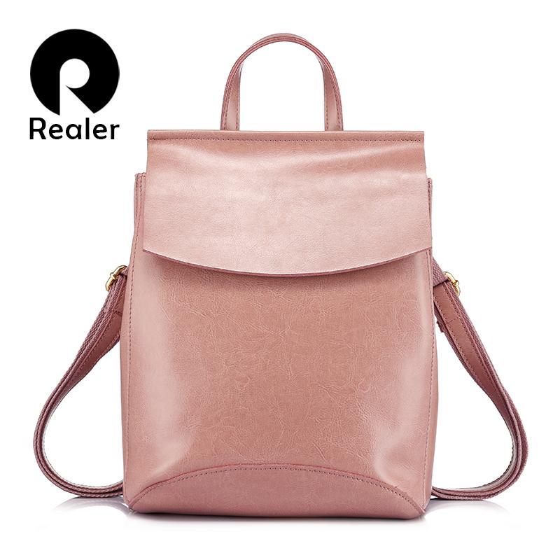REALER brand fashion backpack women leather genuine backpacks for teenage girls female backpacks multifunctional shouder bags(China (Mainland))