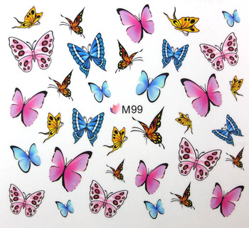 101 Styles Water Transfer Nail Sticker Full  Flowers Butterfly  Leopard Print M Series Free Shipping