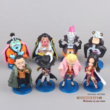 Anime One Piece Boa Hankokku Mihawk Doflamingo Kuma Teach Jinbe Mini PVC Action Figures Collection Model Toys 8pcs/set OPFG306