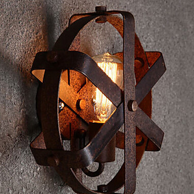 Wall Lamps Retro Loft Style Vintage Industrial Wall Light for Home Indoor Outdoor Lighting Wall Sconce with Rust Metal Lampshade(China (Mainland))