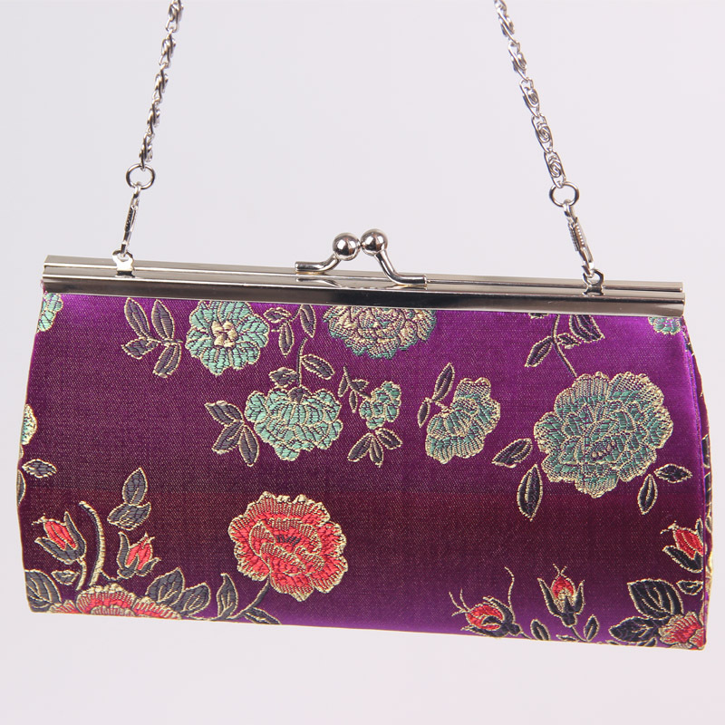 2015 Special Offer Handbags Messenger Bags Classic Metal Chain Brocade Iron Clamp Holding Evening Bag, With Cheongsam Handbag(China (Mainland))