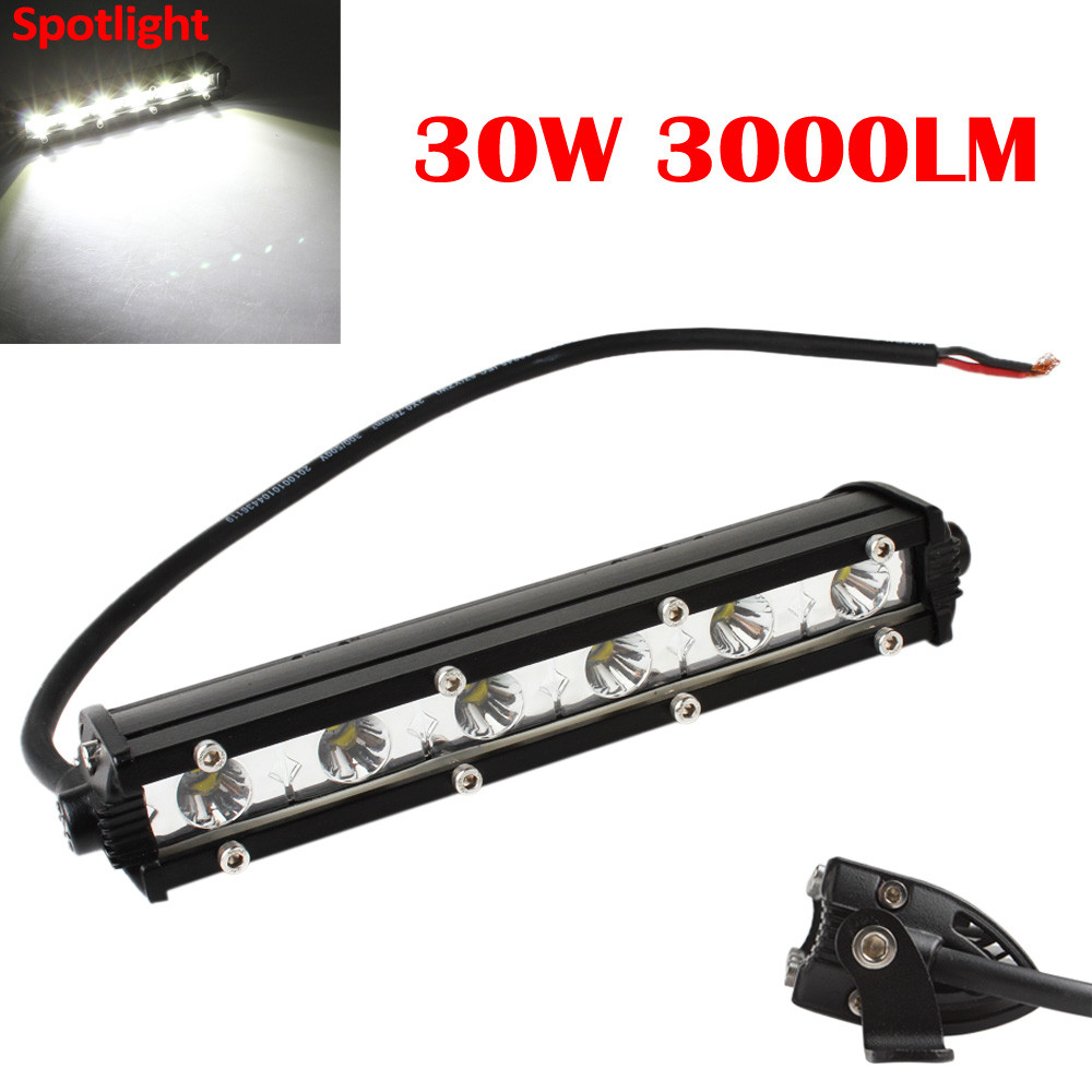 Crek 7inch 30W 3000LM LED Work Light Bar Spotlight Lamp Driving Fog Offroad LED Work Car Lights for Jeep for Toyota SUV 4WD Boat