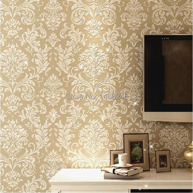 Glitter italian non woven wallpaper background wall damask for Damask wallpaper living room ideas