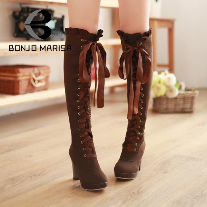 Knee Boots Newest 2014 High Heels Shoes For Women Lace Up Over The