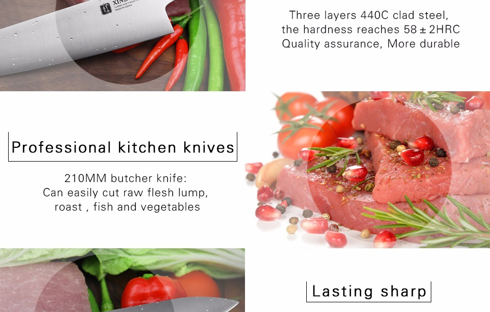 Buy XINZUO 8 inch butcher knife Germany 1.4116 stainless steel chef knife kitchen knives chef's knives G10 handle free shipping cheap