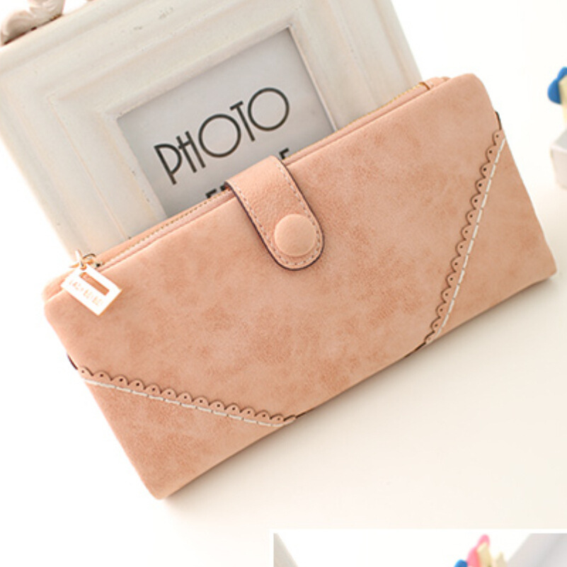 2015 new fashion women's wallets Coin purse for phone Card Wallet PU Leather Ms frosted long vintage buckles lace handbag(China (Mainland))
