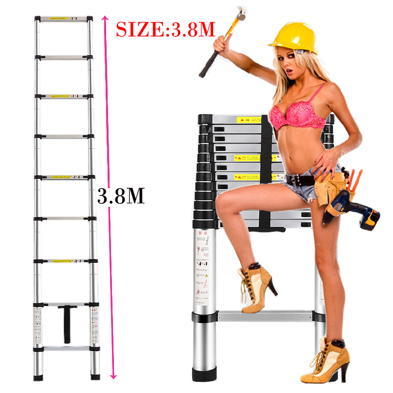 3.8m Thickening alloy aluminum herringbone portable retractable ladder multifunctional folding ladder stair(China (Mainland))