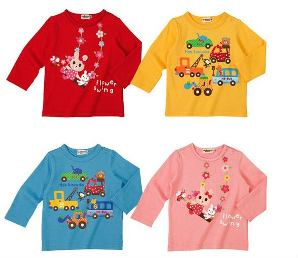 girls boys children t shirt fit 1-5yrs baby kids tee long sleeve clothing 2 4 colors 5 size - sonia hu's store