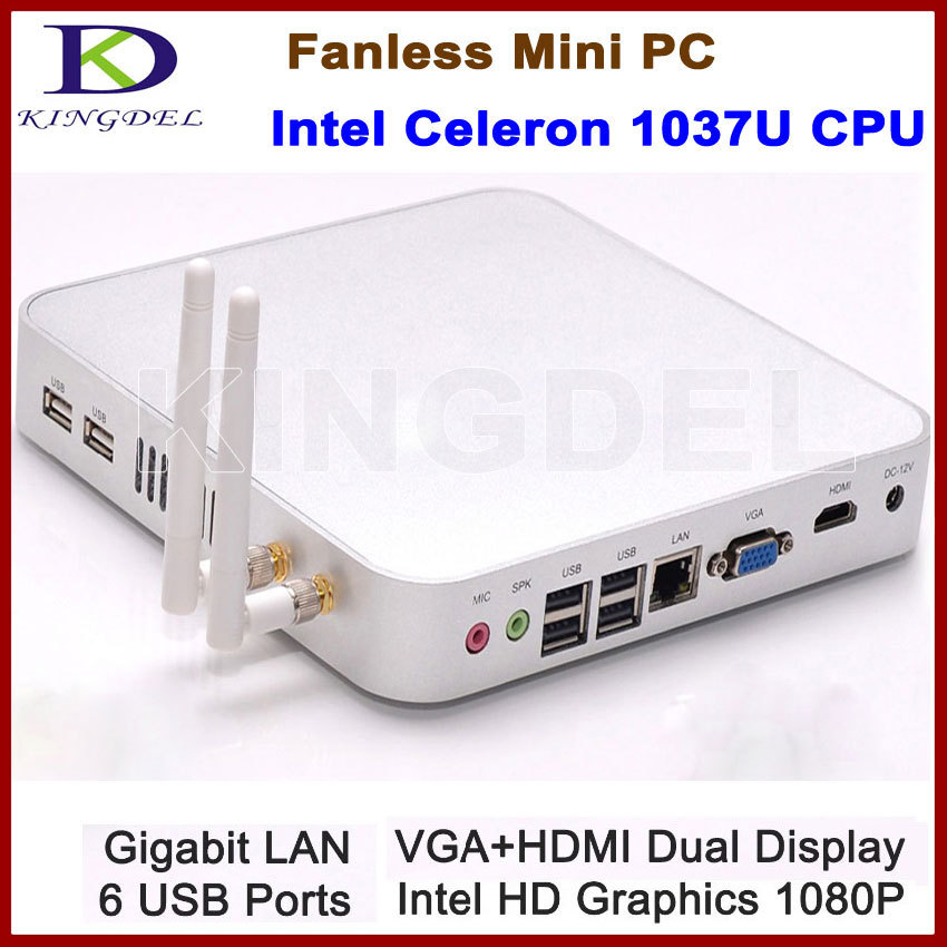 Intel Celeron 1037U Fanless Mini Computer Thin Client PC Barebone WiFi 1080P HDMI Metal Case Intel HD Graphics 6 USB port(Hong Kong)