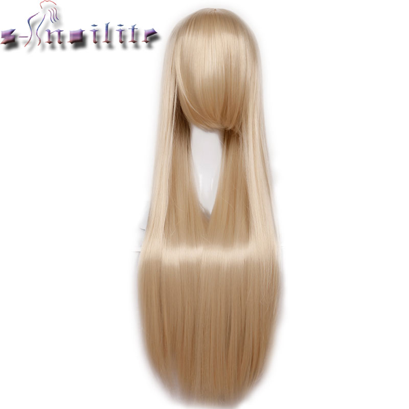 S-noilite 80cm 32 inches Long Women Wig Heat Resistant Red Pink Purple Black Blonde Straight Cosplay Wigs Synthetic Hairpiece(China (Mainland))