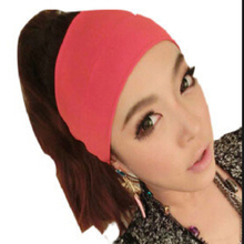 Creative Women Candy Color Wide Yoga Headband Stretch Hairband Elastic Hair Bands Turban(China (Mainland))