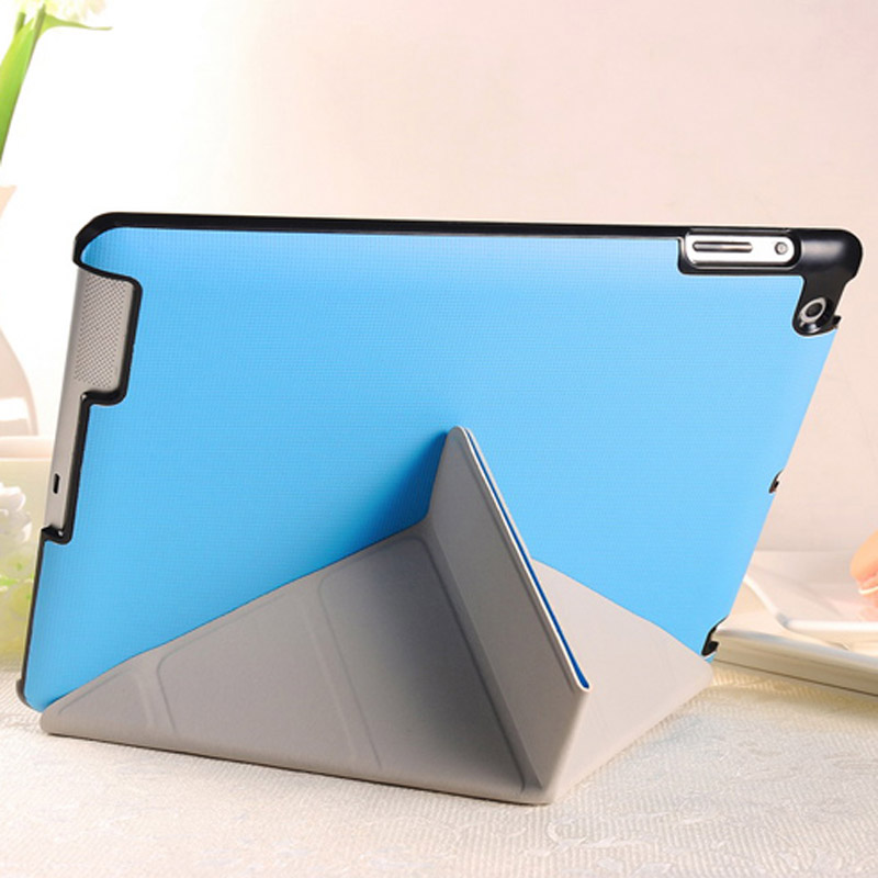 4 Shapes Stand Design Magnetic Leather Case for ipad 4 3 2 Smart Cover Smartcover for iPad4 Utrathin Fashion Style Blue OYO