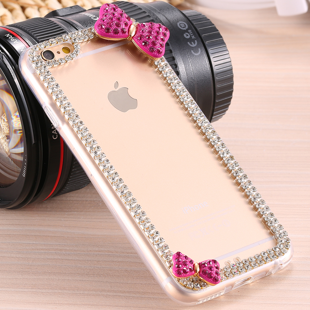Luxe Diamond For iPhone 6 4.7inch Case Glitter Bling Rhinestone Cover For iPhone6 Butterfly Bow Knot Hard Accessories(China (Mainland))