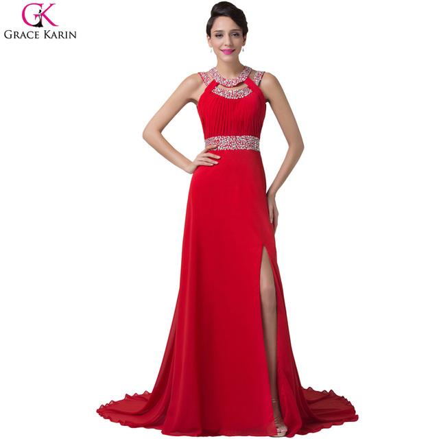Длинный красный вечернее платье русалка грейс карин бисером разрез стороны шифон открытой спиной одеяние де вечер сирене женщин вечерние платья CL6248