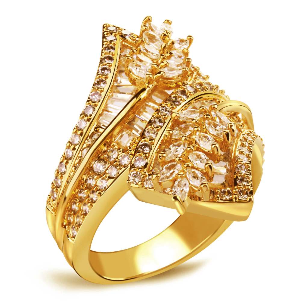 Women Luxury Flower Ring 133 pcs AAA White Cubic Zirconia Rings Of CZ Stone Allergy  Nickel Free 18k Gold Plated HY1049